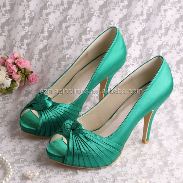 (20 Colors) Brand Name Spring High Heels Wedding Shoes Green SatinParty Pumps Open Toe