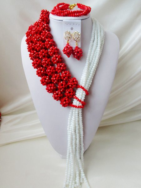 NEW nigerian weddin Opaque Red africanbeads jewelry Set Crystal beads bride jewelry  R-2405<br><br>Aliexpress