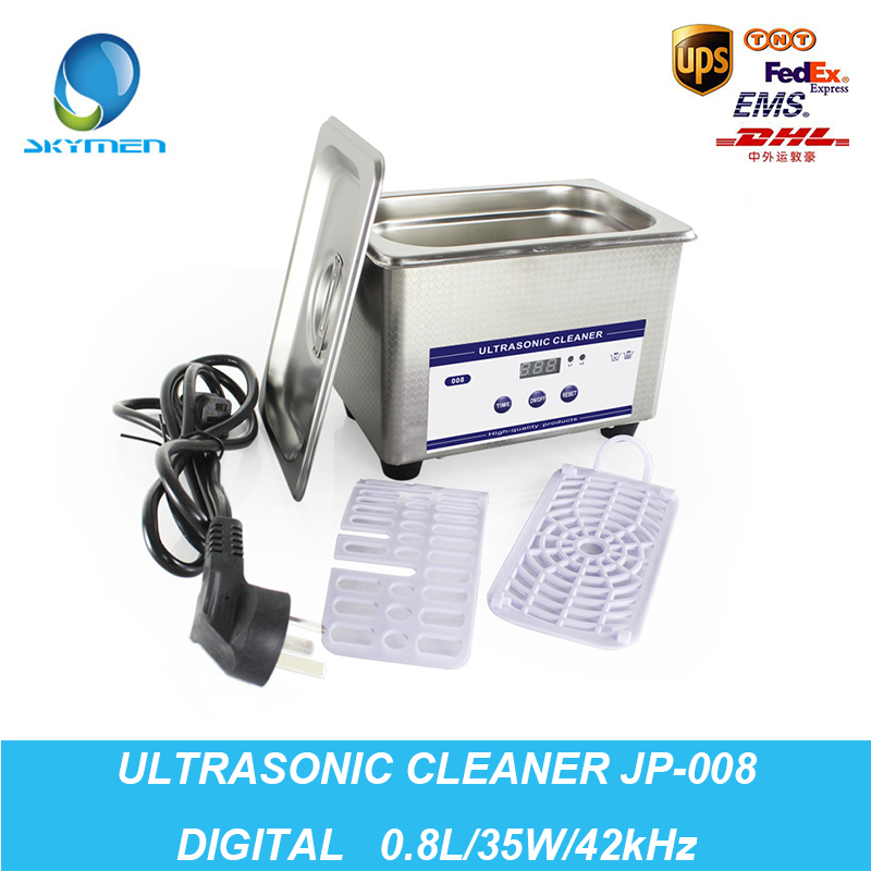 Digital Ultrasonic Cleaning Baskets Jewelry Watches Dental PCB CD 0.8L 35W 42kHz Ultrasound Mini Ultrasonic Cleaner Bath(China (Mainland))