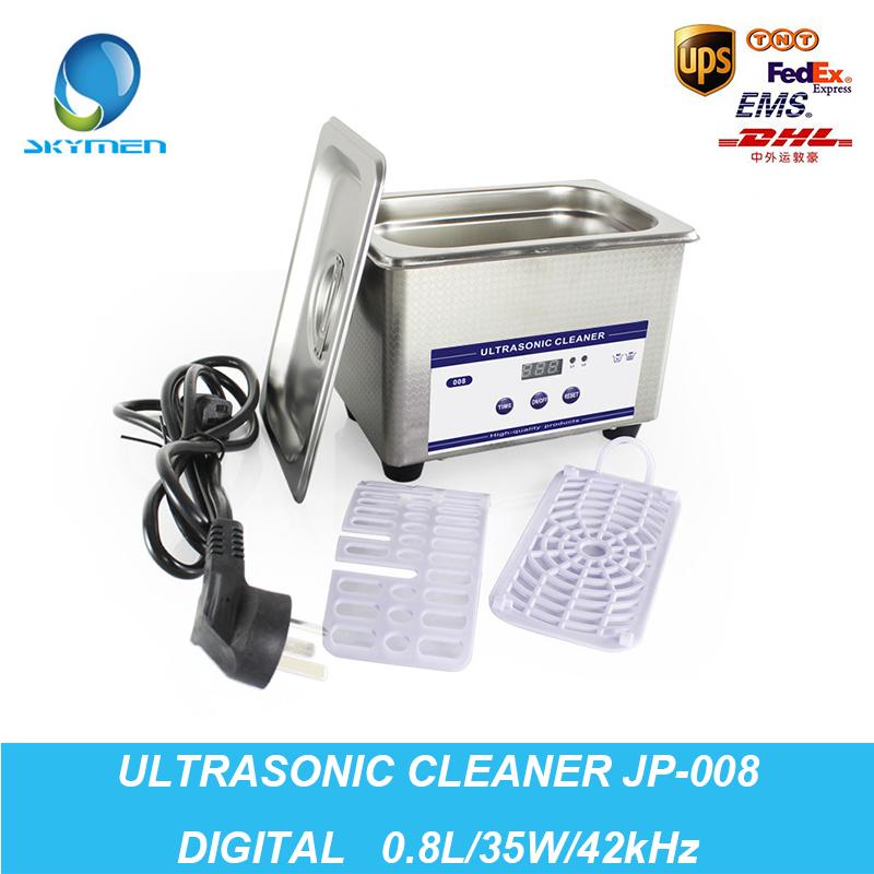 Digital Ultrasonic Cleaning Baskets Jewelry Watches Dental PCB CD 0.8L 35W 42kHz Ultrasound Mini Ultrasonic Cleaner Bath(China (Mainland))