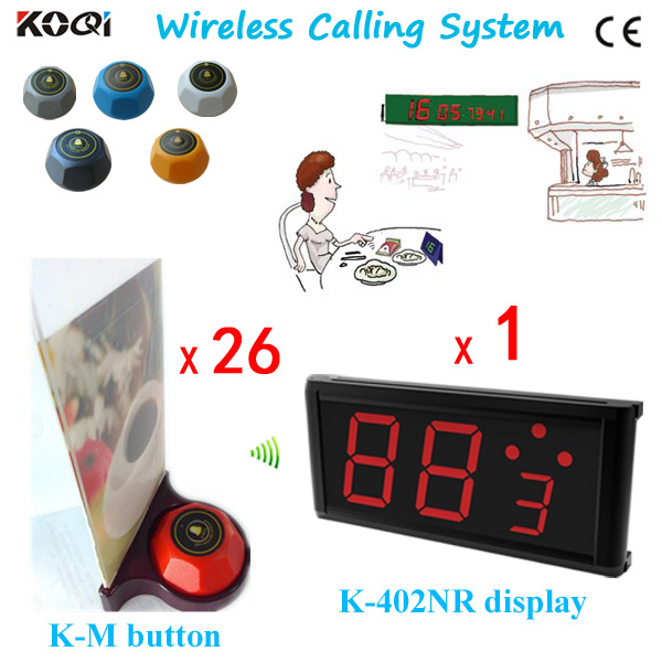 Newest Restaurant Guest Paging System; simply press button for service call and show on screen; Free Shipping(China (Mainland))