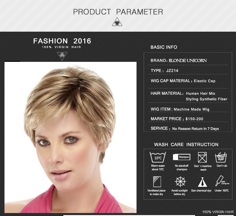 Blonde Unicorn Fashion Short Human Hair Wigs Women's Wig Blond Wig Air Bang Human Hair Wig Customized Global Free Shipping