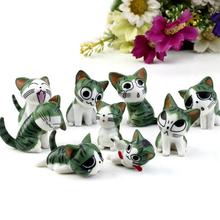 9 unids/lote creativo queso cat doll mini japón lugar pequeño regalo de cumpleaños de navidad figura de anime queso cat toy doll(China (Mainland))