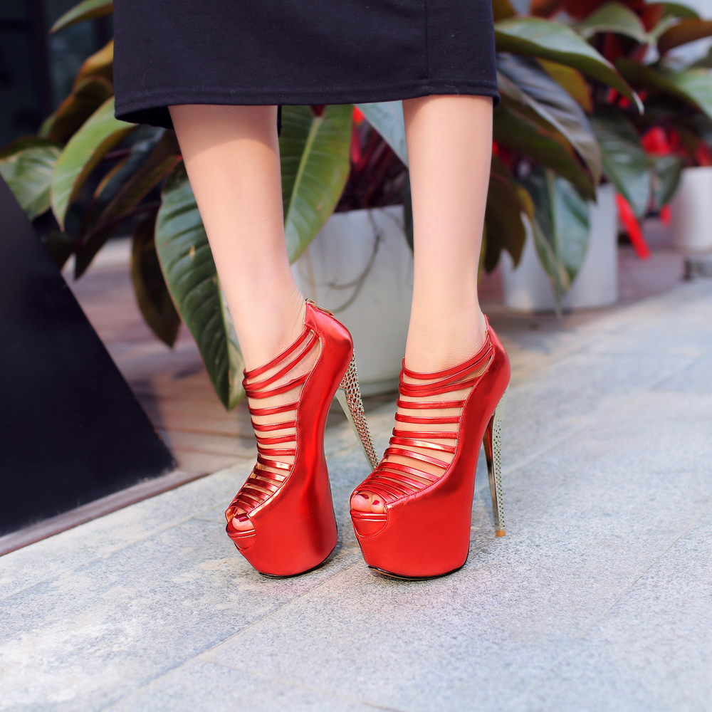 Fashion 2016 Women Sandals Narrow Band Cut-Outs 6cm Platform 16cm Thin Heels Sandals Red Silver Gold Shoes Woman US Size4-8.5<br><br>Aliexpress
