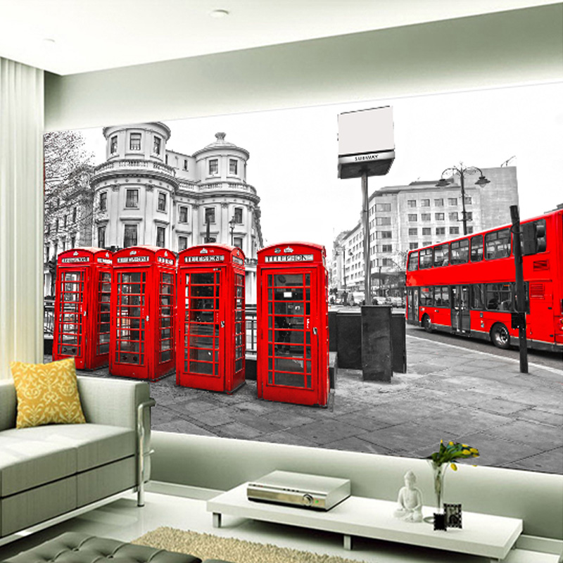 Modern Style Red Phone Booth Bus 3D Non-woven Moisture Photo Wallpaper Restaurant Coffee Shop Home Decoration Wall paper Roll(China (Mainland))