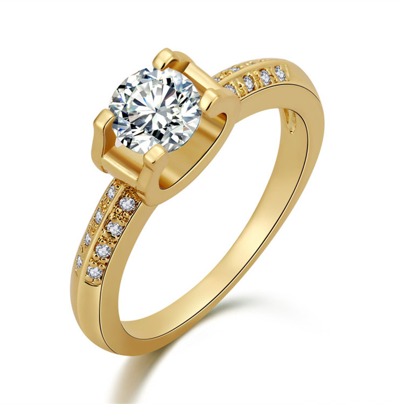 2015 Antique Gold Wedding Ring 14K Gold & Platinum Plated Engagement Wedding Rings Zirconia For Women(China (Mainland))