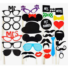 Buy 31 Pcs/Set Photobooth Wedding Birthday Party Photo Booth Props Glasses Mustache Lip Stick Photo Booth Props for $2.88 in AliExpress store