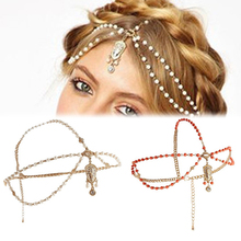 Hair Accessories Metal Head Waves Chain Jewelry Shiny Boho Women Pearl Gold Wedding Headdress Headband Crown Headpiece(China (Mainland))