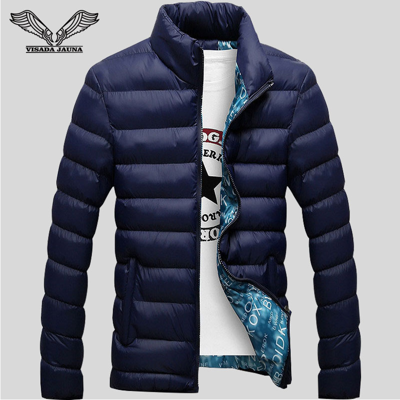 Winter Jackets Mens 2016 New Stylish Slim Fitness Quilted Long Sleeve Cotton Padded Solid Thick ...