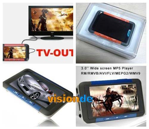 Wholesale Free shipping 2GB 4GB 8GB 3.0 inch QVGA Screen MP4 Player MP5 Player TV OUT Function FM, TF Card Slot