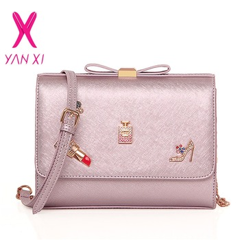 YANXI New Handbag Shoulderbag Fashion Small Square Package High Quality PU Messengerbag High-Heeled Shoes Decorated Bow Lady Bag