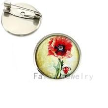 Tafree Grosir Charming Red Poppy Bros Bidang Poppies Bunga Pin Bros Bunga Seni Perhiasan Hadiah Hari Ibu NS135(China)