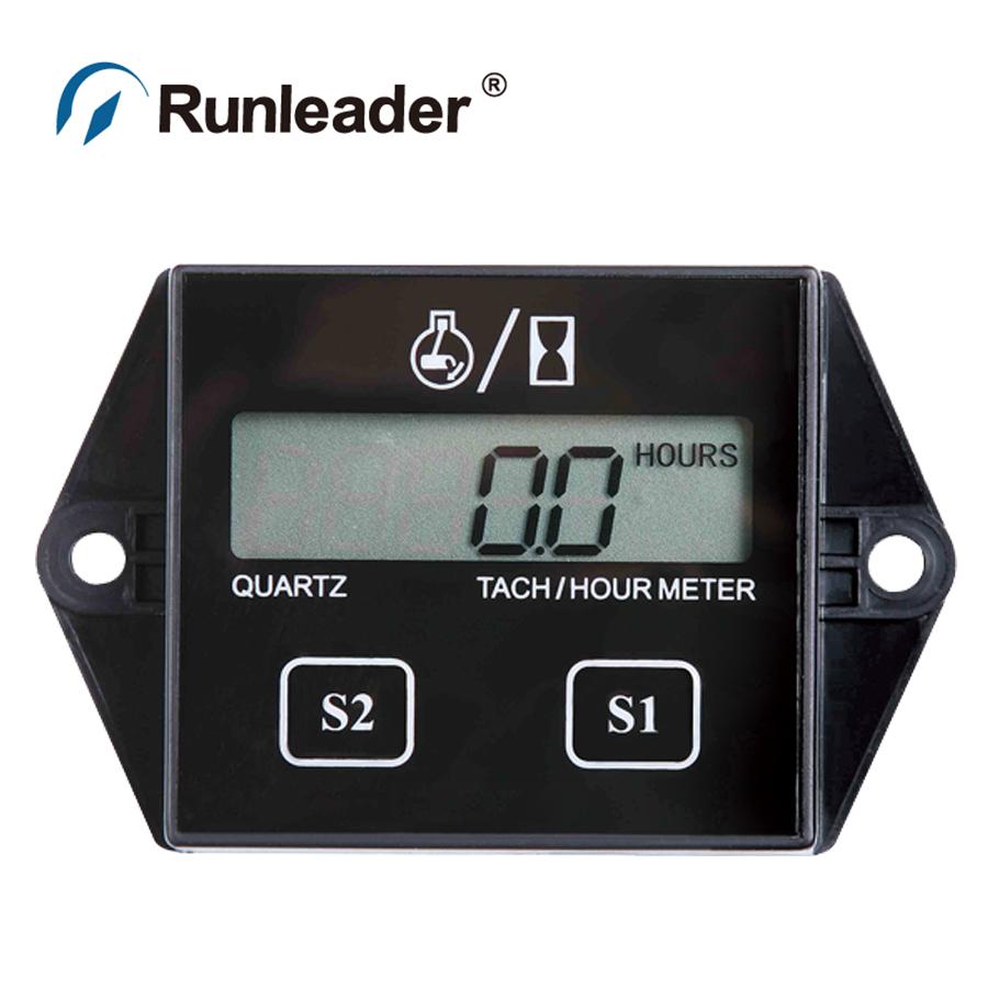 Runleader Digital Resettable Petrol Engine Hour Meter Tachometer For Jet Ski Lawn Mower Motorcycle ATV UTV Boat Generator(China (Mainland))