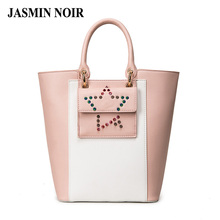 2016 Vintage Style Women Rivet five-pointed star Casual Tote Lady PU Lether Patchwork Big Handbag Women New Dual Functions Bags(China (Mainland))