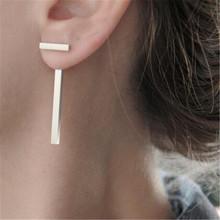 2016 Brand New Simple T Shape Long Geometric Bar Ear Jacket Stud Earring For Women Fashion Jewelry Brincos Piercing SACJ1086