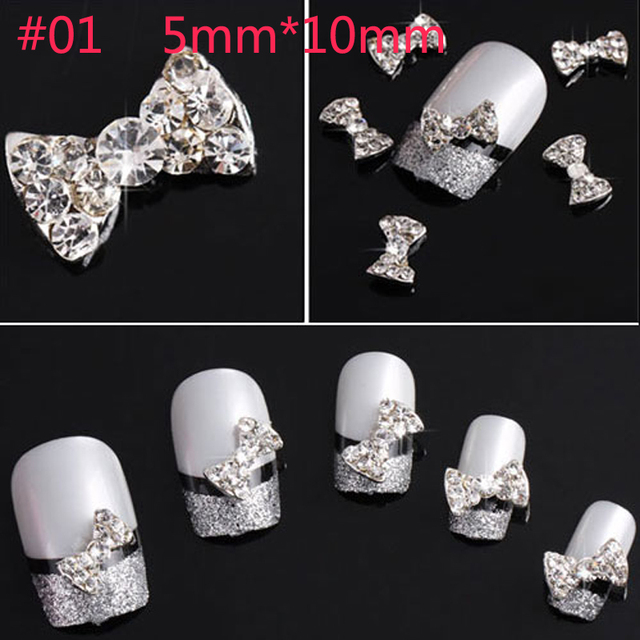 10pcs/pack Clear Alloy Rhinestones Bow Tie 3D Nail Art Decorations Glitters Slices DIY Beauty Tips Nail Stud Makeup Accessories
