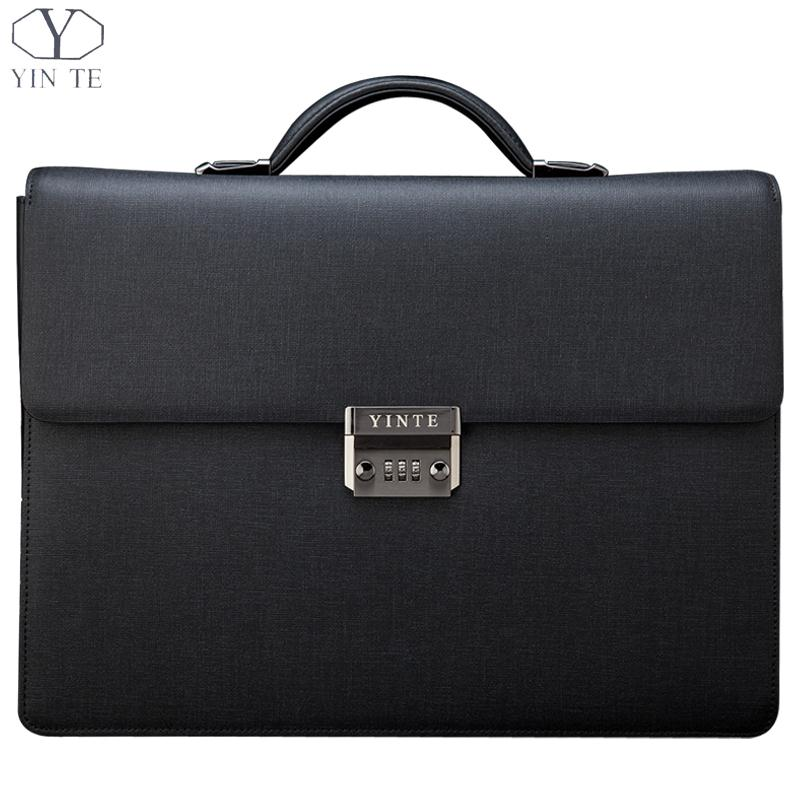 The New Famous Style High Quality Genuine Leather Men's Briefcases Classic Business Solid Zipper Working Bags for 15.5inch(China (Mainland))