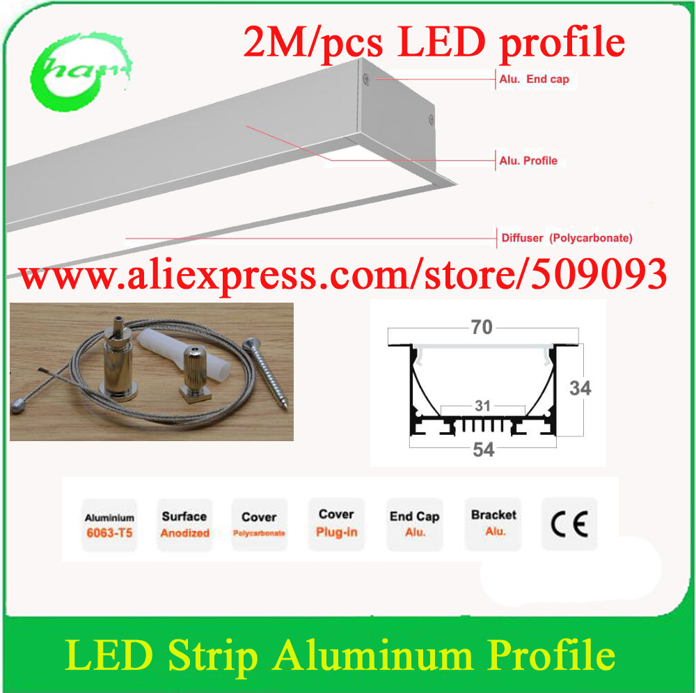20M 10pcs led big channel for strip light with hanging wire ,cover and end caps free shipping(China (Mainland))
