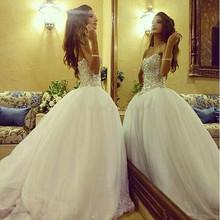 Luxury Shiny Crystal Beading Tulle Wedding Women Dresses 2016 Vintage Sweetheart Long Bridal Gowns Vestido De Noiva Curto White(China (Mainland))