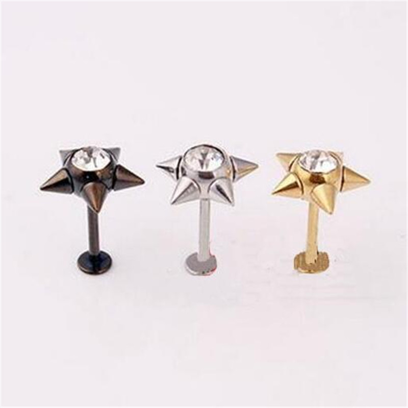 1piece stainless steel cz diamond star stud earring for