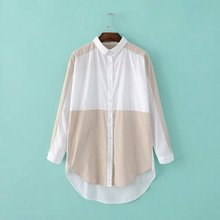 Women long Shirt casual partchwork Cotton Shirts big Size Gray stripes and white colour 2016 female long sleeve blouse ladies (China (Mainland))