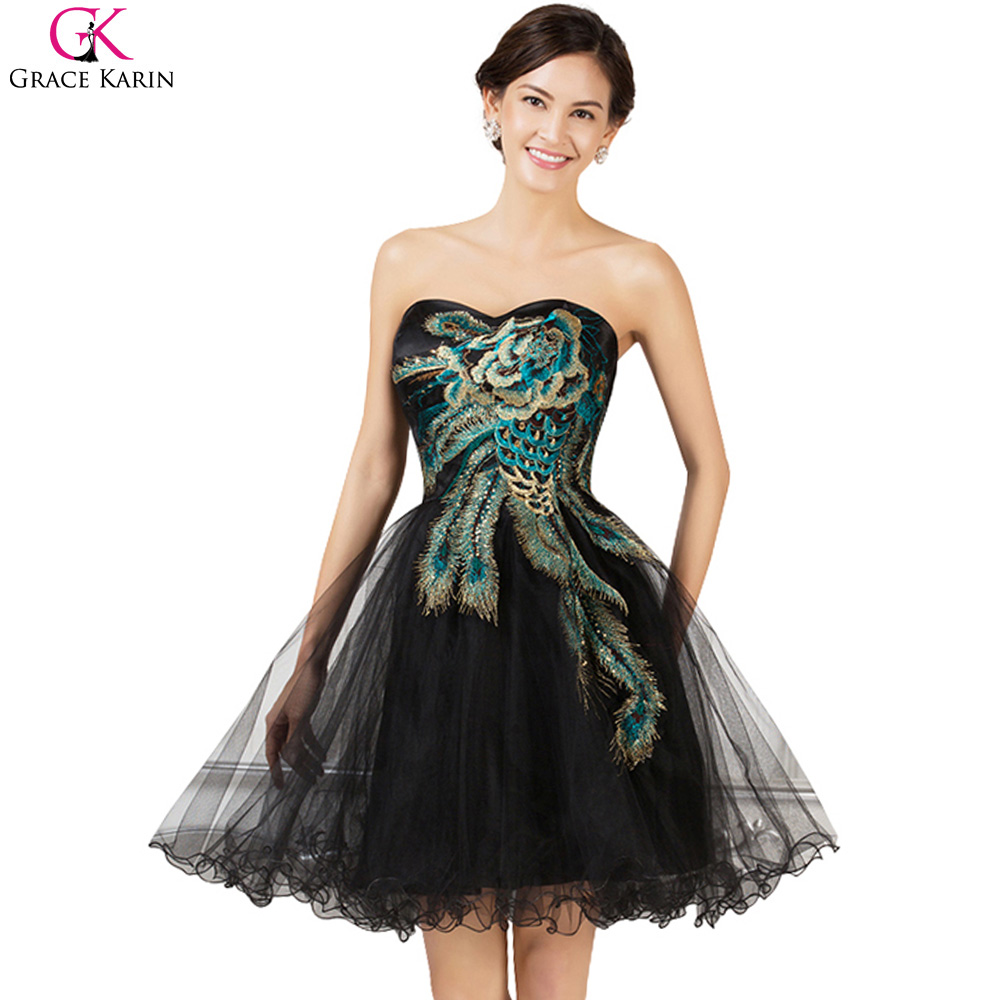 Prom Dresses Grace Karin Puffy Sweetheart Tulle Knee Length Peacock Dress Formal Ball Gowns Short Black Wedding Party Dress Prom(China (Mainland))