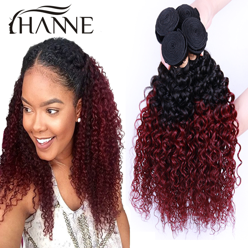 Malaysian Ombre Curly Hair 1b99j Dark Root Burgundy End 2 Tone Colored Kinky