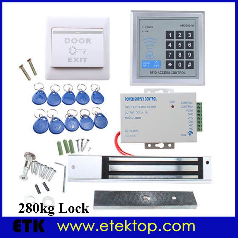 Home House Door Access Control System With 620 LBs 280KG Electric Magnetic Lock RFID Keypad Password RFID Card Unlocking(China (Mainland))