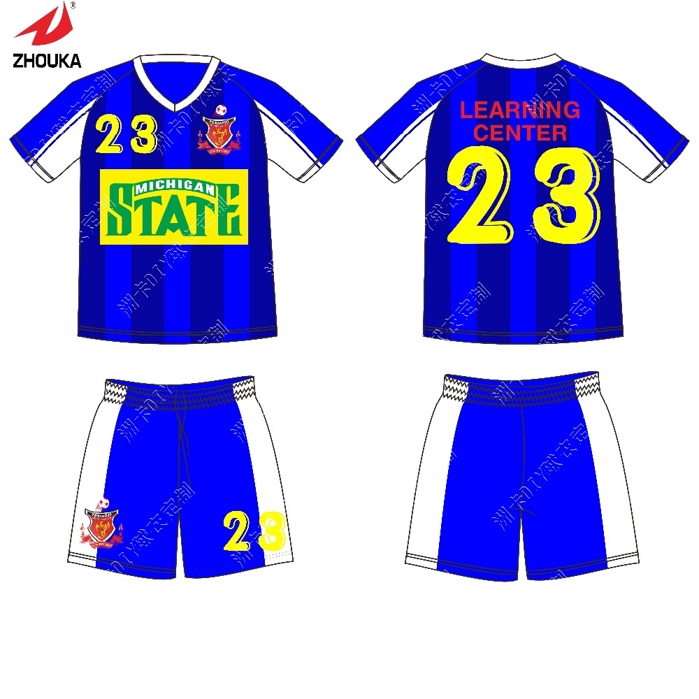 2016 Latest Sublimation Printing any logo and color Football uniforms 100% polyester(China (Mainland))