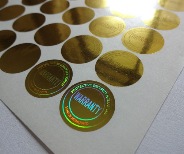 diameter 2cm ,gold color ,one time use only ! versatile ! can be used everywhere , gold hologram sticker label,void if removed