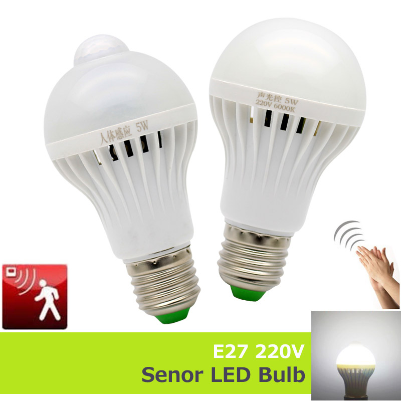 E27 220v Sensor Led Lamp Bulb Pir Infrared Motion Sound Light Sensor Control Automatic Smart