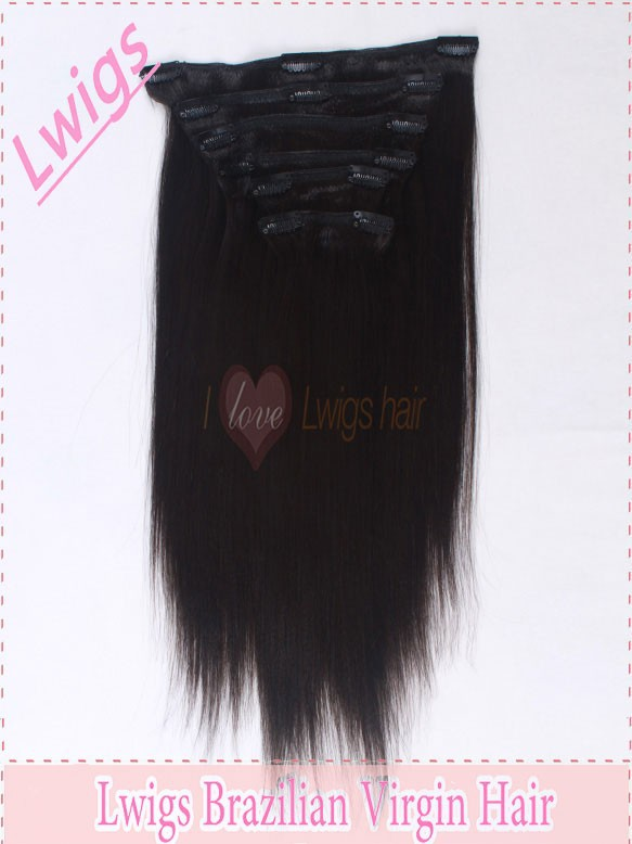 For black women Brazilian virgin clip in hair extension 12-24inch natural straight 100% 6pcs clip in human hair extension