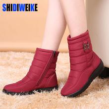 SHIDIWEI Botas de Nieve 2017 Mujeres de la Marca de Invierno Botas Zapatos de La Madre Antideslizantes Impermeables Flexibles Mujeres Botas Casuales de La Moda Más Tamaño(China (Mainland))