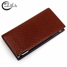 Metal Angles Chequer Men Wallet W110 PU Male Purse Classical Business Long Handbag Cardholder Metal Angles Chequer Men Wallet