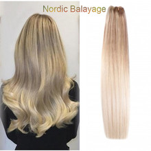 Full Shine Nordic Balayage Blonde Highlited Full Head Remy Clip In Human Hair Extensions Clip In Weave 9Pcs Straight Ombre Hair