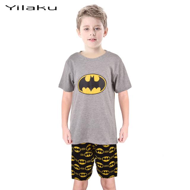 Дети бэтмен комплект одежды мальчик с коротким рукавом Pijamas детей мультфильм пижамы комплект мальчик летней одежды костюм мальчиков пижамы CF208