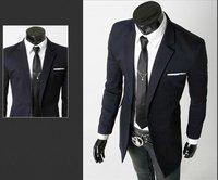 Мужская долго костюм куртка осень и зиму случайный носить пиджак шерсть для человека, черный/темно-синий/серый размер m-xxl 8936