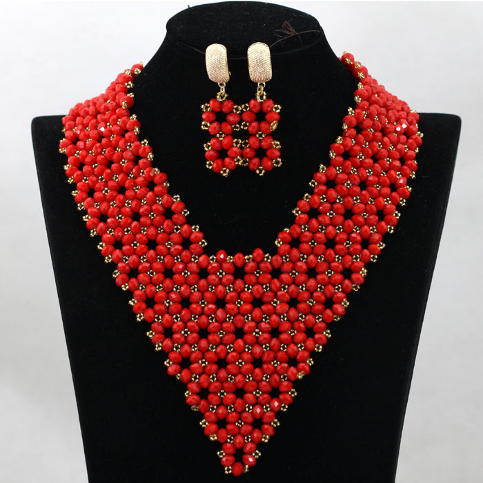 Exclusive Tomato Red Collar Necklace Earrings Set Costume African Jewelry Set for Nigerian Wedding Hot Free Shipping WA830(China (Mainland))