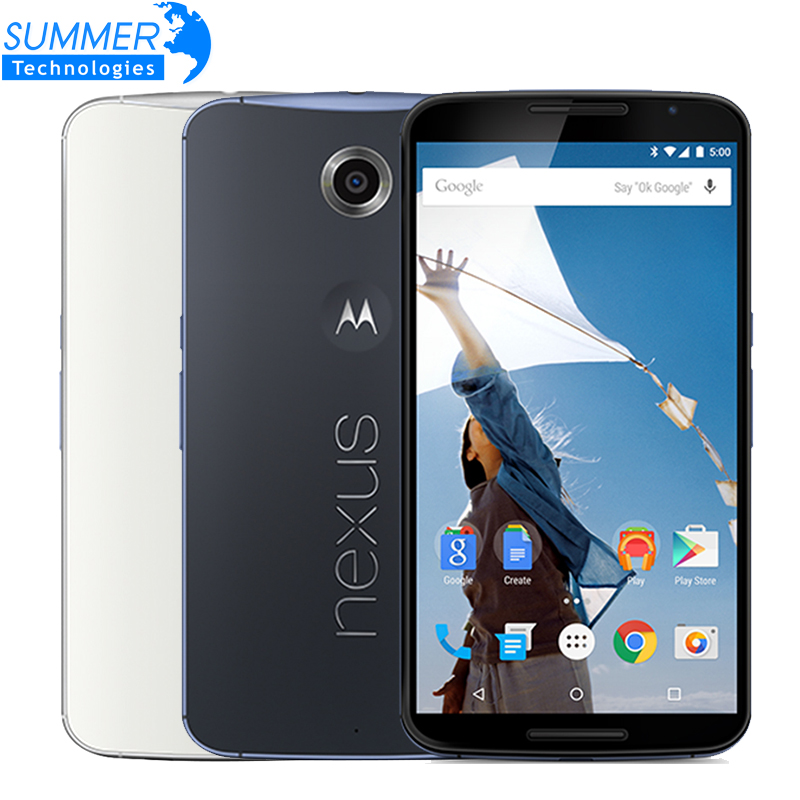 "Original Motorola Google Nexus 6 XT1103/XT1100 Mobile Phone Quad Core 3GB RAM 32/64GB ROM 5.96"" 4G LTE Dual SIM Smartphone(China (Mainland))"