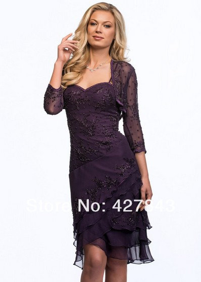 3-Custom Made Chiffon Lace Applique Beaded Short Spaghetti Strap Mother of The Bride Dresses Knee Length with Jacket RedNavy