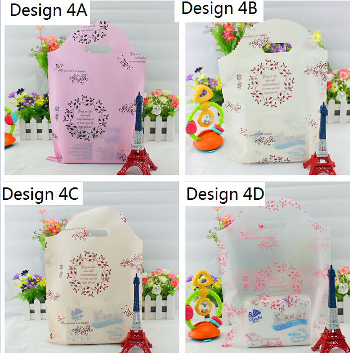 pink plastic shopping bag wedding party Plastic gift Packaging Bags With Handle birthday plastic Gift Bags(China (Mainland))