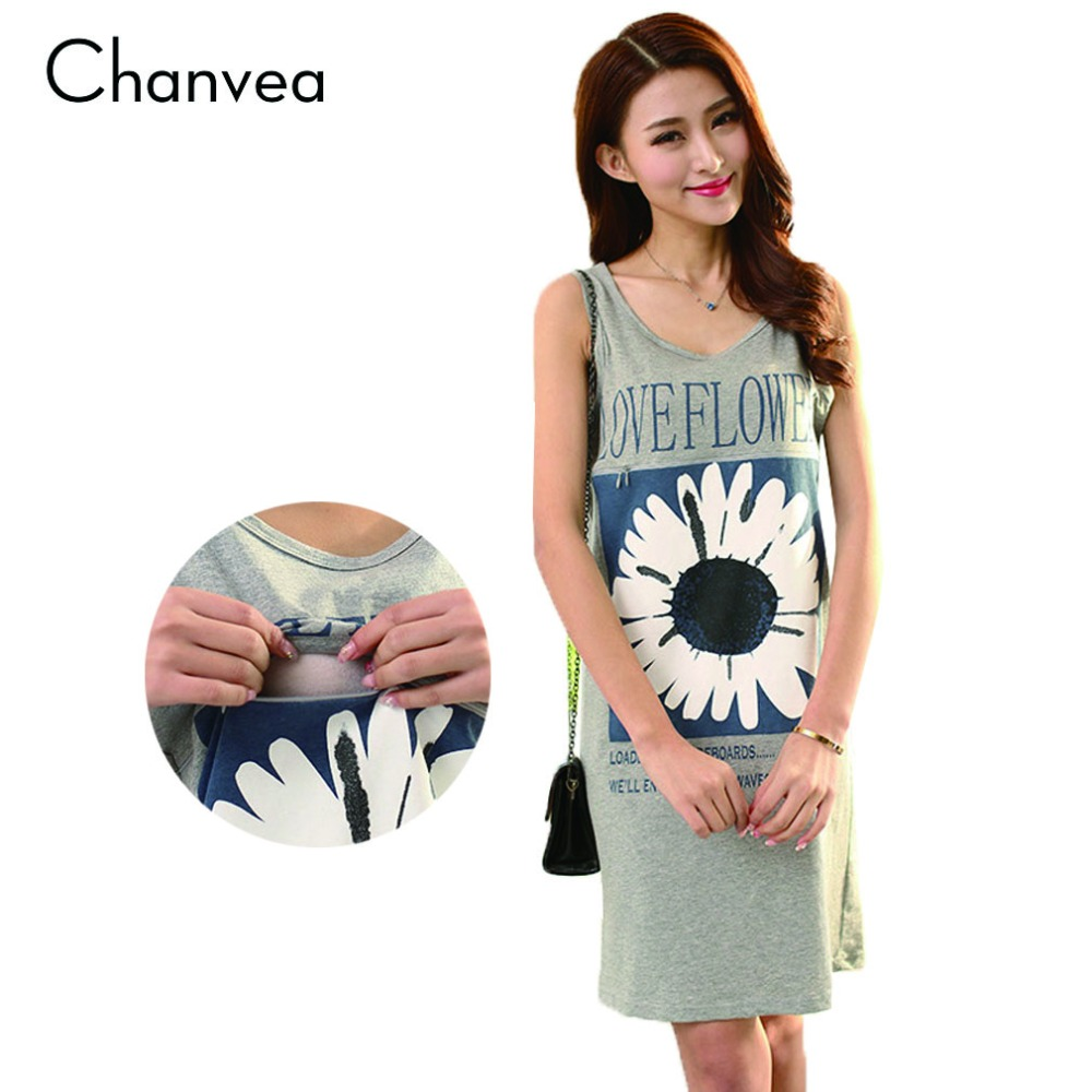 Floral Breastfeeding Vest Dresses Flower Printed Nursing Clothes for Pregnant Women Summer Maternity Clothing Pregnancy Dresses(China (Mainland))