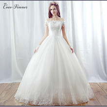 Buy C.V Princess White color ball gown wedding dress 2017 new boat neck beading cheap lace wedding bridal dress gown for $63.75 in AliExpress store