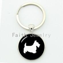Scottish Terrier TAFREE Melhor amigo bonito chave cadeia retro simples perfil padrão artesanal keychain animal de estimação adorável cão presente KC504(China)