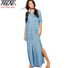 2016 Denim Dress Women Maxi Long Fashion Plus Size S-XXL Sexy Side Split Solid Casual Big Sizes Vestdos Jeans Dresses Summer(China (Mainland))