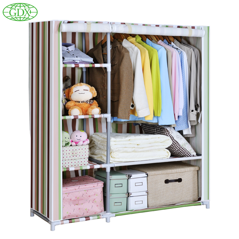 Gdx modern simple wardrobe non woven fabrics reinforce - Stainless steel bedroom furniture ...