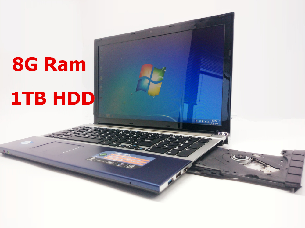 15 inch Gaming Laptop Notebook Computer Wtih DVD 8GB DDR3 Ram 1TB HDD in-tel celeron J1900 Quad Core 2.0Ghz WIFI webcam HDMI(China (Mainland))