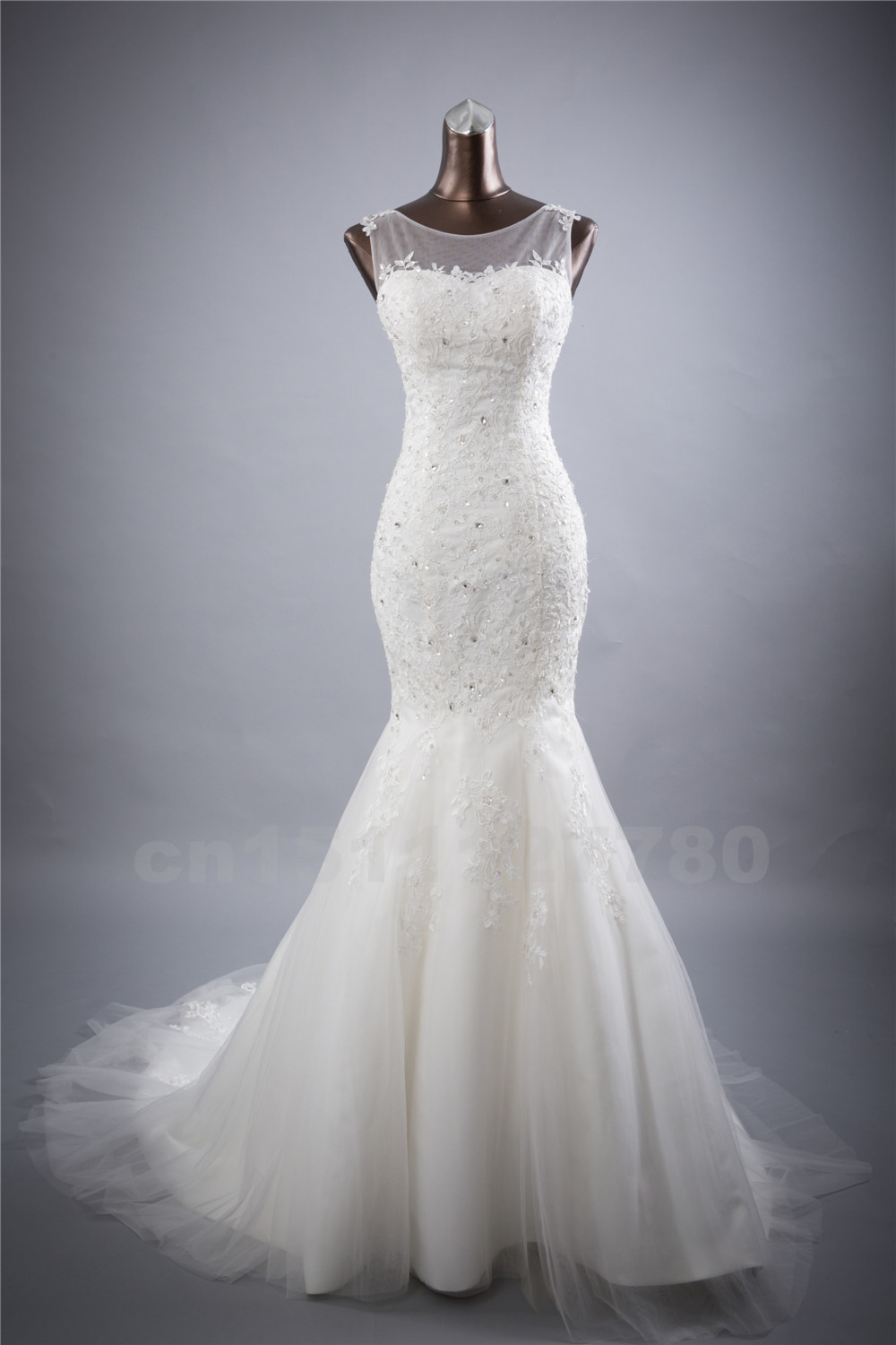 Bridal wedding gown real photos white lace mermaid wedding for Wedding dresses that are white