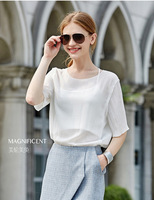 Euro Style Casual Women Blouse Simple Temperament Pleated Shirt Short Sleeve O-Neck Slim Shirt
