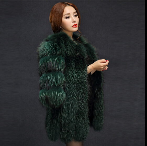 2016 new European and American big raccoon fur coat fur coat jacket and long style overcoat half sleeve(China (Mainland))